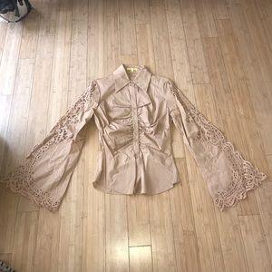 Catherine Malandrino Tan Button down Shirt Size S